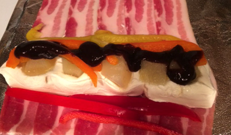 roll up the bacon sushi
